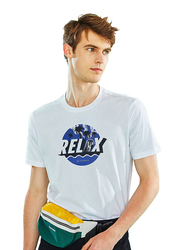 Giordano Short Sleeve Printed Crew Neck T-Shirt for Men, Large, White