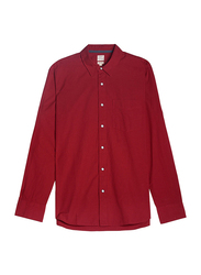 Giordano Long Sleeve Shirt for Men, Small, Red