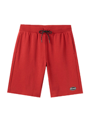 Giordano Elastic Polyester Text Printed Casual Shorts for Men, Medium, Red