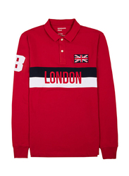 Giordano London Embroidery Long Sleeve Polo Shirt for Men, Medium, Red