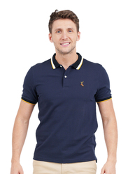 Giordano Short Sleeve Deer Embroidery Polo Shirt for Men, Small, Navy Blue