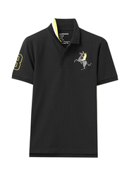 Giordano Short Sleeve 3D Napoleon Polo Shirt for Men, Extra Large, Black
