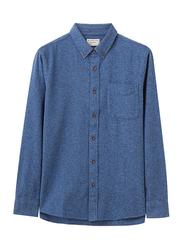 Giordano Long Sleeve Brushed Flannel Pocket Shirt for Men, Medium, Blue