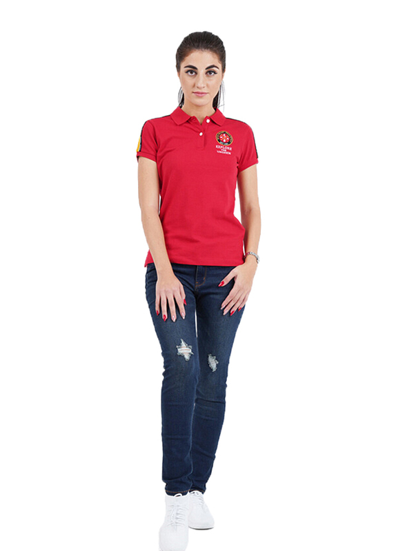 Giordano Short Sleeve Bold Pique Printed Polo Shirt for Women, Large, Red