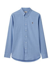Giordano Oxford Embroidery Chest Long Sleeve Shirt for Men, Small, Blue