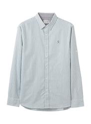 Giordano Long Sleeve Cotton Oxford Embroidery Shirt for Men, Medium, Green