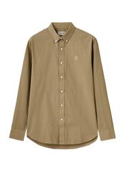 Giordano Oxford Long Sleeve Shirt for Men, Small, Dark Khaki