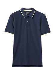 Giordano Contrast Tipping Short Sleeve Polo Shirt for Men, Extra Large, Blue