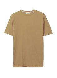 Giordano Crew Neck Shot Sleeve T-Shirt for Men, Large, Melange Deep Taupe