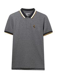 Giordano Deer Polo Shirt for Men, Small, Melange Dark Grey