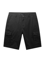 Giordano Slim Fit Twill Low Rise Cargo Shorts for Men, 38 US, Black
