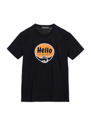 Giordano Short Sleeve Greeting Message T-Shirt for Men, Extra Large, Black