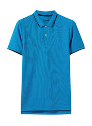 Giordano Contrast Tipping Short Sleeve Polo Shirt for Men, Extra Large, Dark Blue