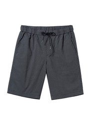 Giordano Slim Fit Elastic Waist Cotton Casual Shorts for Men, Large, Dark Grey