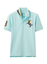 Giordano Short Sleeve 3D Napoleon Polo Shirt for Men, Large, Aqua