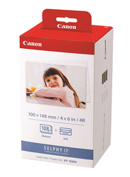 Canon KP-108IN Color Ink Paper Set for Canon Selphy CP910/CP810 Photo Printer, 108 Sheets, White