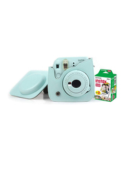 Fujifilm Instax Mini 9 Instant Camera, with 60mm f/12.7 Lens, with Leather Bag and 20 Film Sheets, Ice Blue
