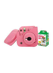 Fujifilm Instax Mini 9 Instant Camera, with 60mm f/12.7 Lens, with Leather Bag and 20 Film Sheets, Flamingo Pink