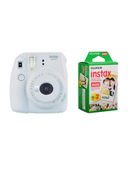 Fujifilm Instax Mini 9 Instant Camera, with 60mm f/12.7 Lens, with 20 Mini Film Sheets, Smoky White