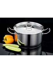 Jb 28cm Delice Stainless Steal Cookpot with Design Lid, 1023-28, Silver