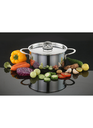Jb 28cm 3 Ply Exclusif Stainless Steal Cookpot with Design Lid, 6004-28, Silver