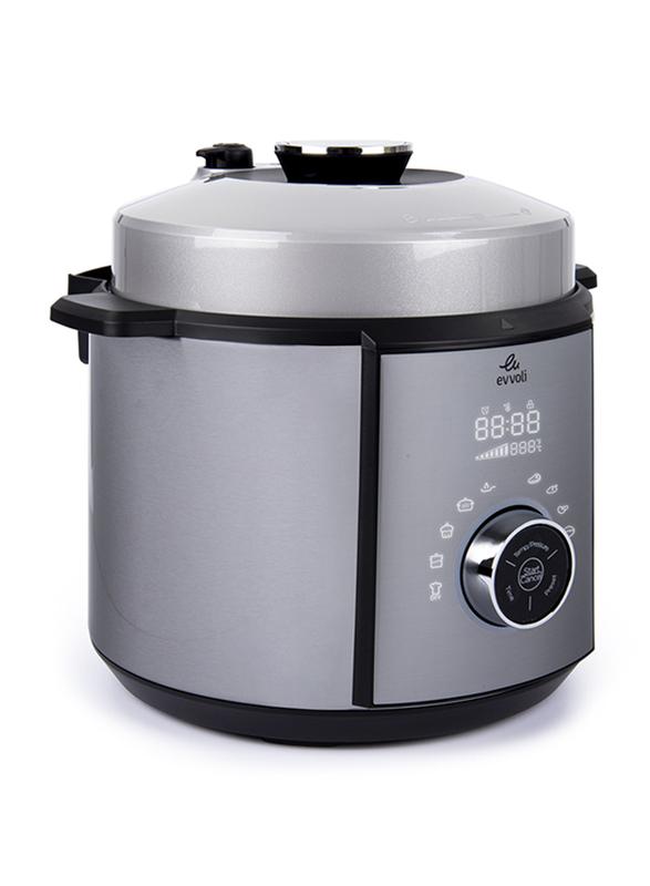 Evvoli 6 Ltr 10-in-1 Multi-Use Programmable Pressure Cooker, 1100W, EVKA-PC6010S, Silver