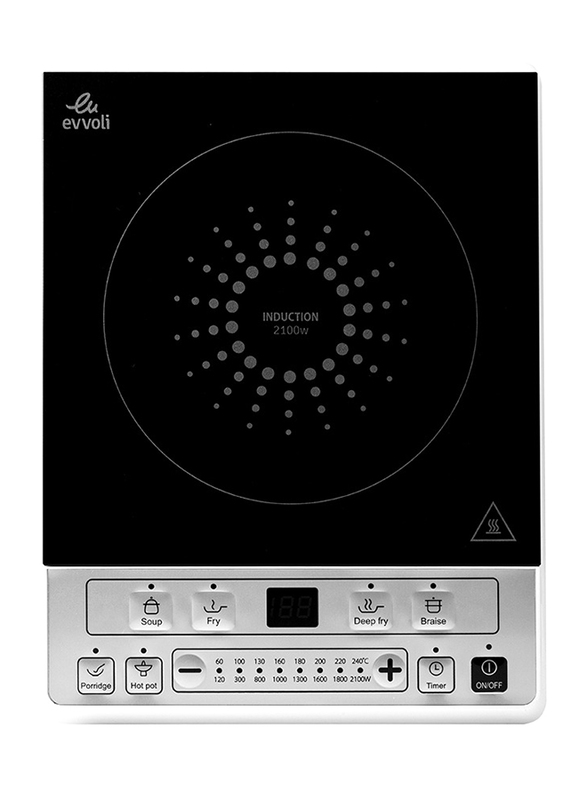 Evvoli Digital LED Induction Hob with 6 Programmed Function and 8 Power Stages Settings High Temperature Protection, 2100W, EVKA-IH106S, Black