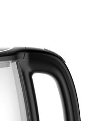 Evvoli 1.7L Electric Glass Kettle, 1850W, EVKA-KE17MB, Clear/Black