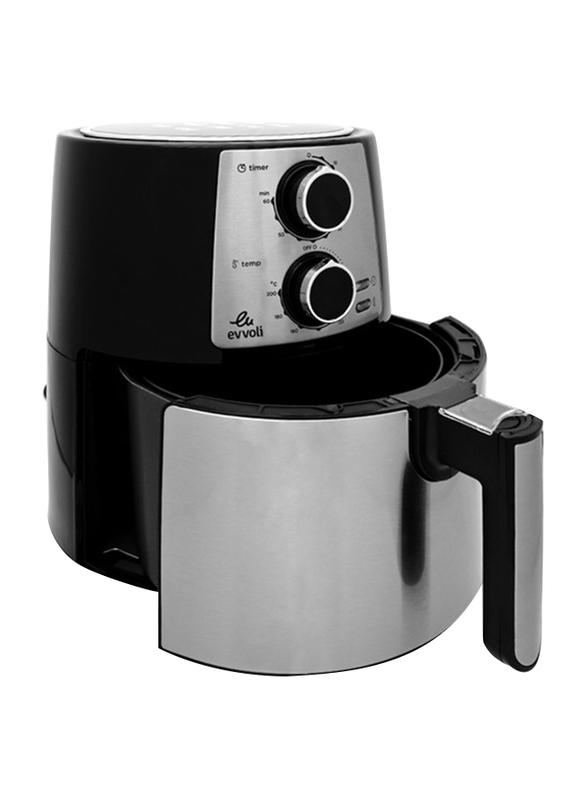 Evvoli 3.5L Timer and Adjustable Temperature Control Air Fryer, 1400W, EVKA-AF3501B, Black/Silver