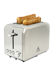 Evvoli 2-Slice Stainless Steel Toaster with 6 Settings & Removable Crumb Tray, EVKA-TO7HS, Grey