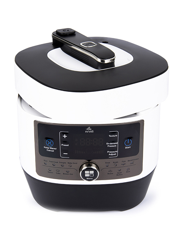 Evvoli 5 Ltr 14-in-1 Multi-Use Programmable Pressure Cooker, 900W, EVKA-PC5014B, White/Black