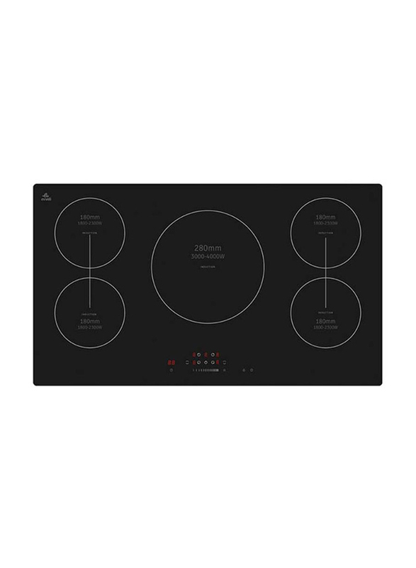 Evvoli Built-In Induction Hob 5 Burners Soft Touch Control with 9 Stage Power Setting and Safety Switch, 9400W, EVBI-IH905B, Black