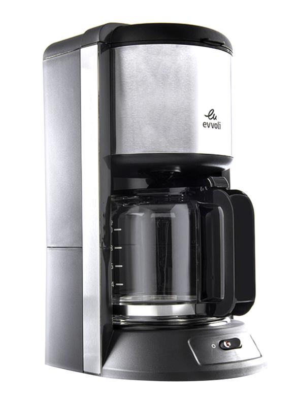 Evvoli 1.25L Coffee Maker with Glass Carafe, 1100W, EVKA-CO10MB, Black
