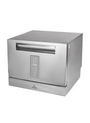 Evvoli 6 Place Setting & 7 Programs Mini Portable Dishwasher, EVDW-6MS, Platinum Silver