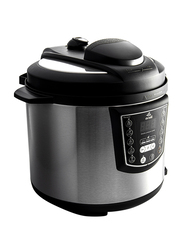 Evvoli 6L 9-in-1 Multi-Use Programmable Pressure Cooker with Digital LED Display, 1000W, EVKA-PC6009B, Black/Silver