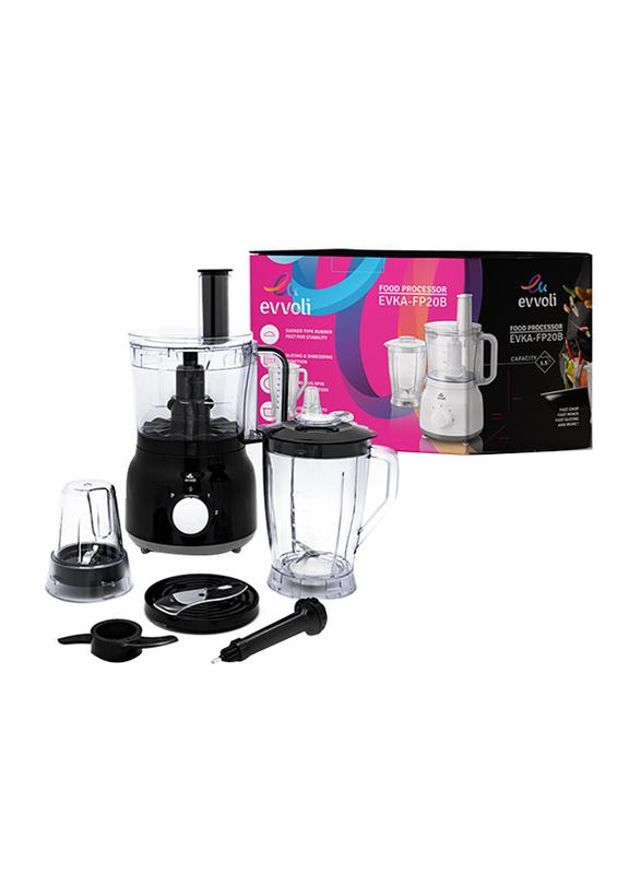 Evvoli 2L Food Processor with Blender & Grinder Different Functions, 600W, EVKA-FP20B, Black