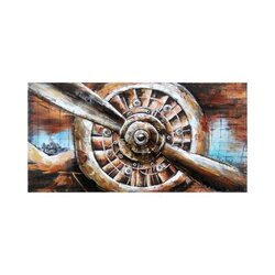Concept Art Cooperation 3D Decoration Hand Painted Airplane Engine Wall Art, 60 x 60cm, Multicolor
