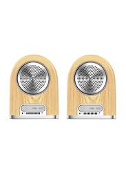 Ovevo Tango D18 Splashproof Portable Bluetooth Speakers, Brown/Silver