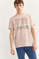 Springfield Short Sleeve Watercolor Print T-Shirt for Men, Medium, Pink