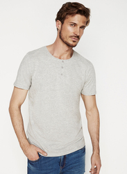 Springfield Short Sleeve SPF Henley Neck T-Shirt for Men, Extra Small, Dark Grey