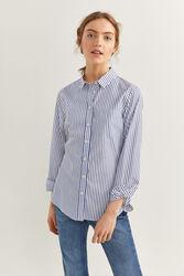 Springfield Long Sleeve Striped Essential Shirt for Women, 34 EU, Light Blue