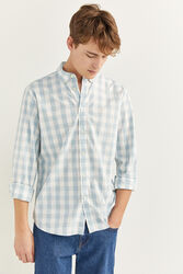 Springfield Long Sleeve Gingham Checked Shirt for Men, Double Extra Large, Light Blue