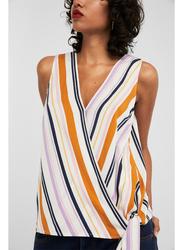 Springfield Plain Stripped Sleeveless V-Neck Blouse for Women, 38 EU, White Print