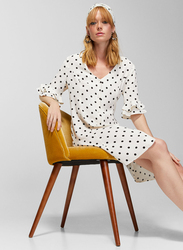 Springfield Polka Dot Printed Knitted Midi Dress, 34 EU, White