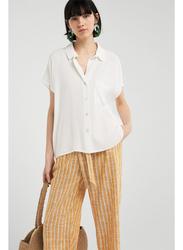Springfield Plain Short Sleeve Collared Blouse for Women, 38 EU, White