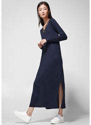 Springfield Lace Detail Neck Woven Midi Dress, Small, Navy Blue