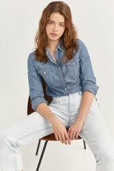Springfield Long Sleeve Striped Denim Shirt for Women, 34 EU, Medium Blue