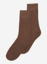 Springfield Mid Crew Socks for Men, Dark Brown, Large
