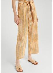 Springfield Striped Cotton Fancy Pants for Women, 38 EU, Dark Brown