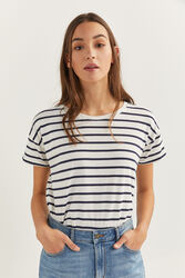 Springfield Short Sleeve Stripy T-Shirt for Women, Small, Blue